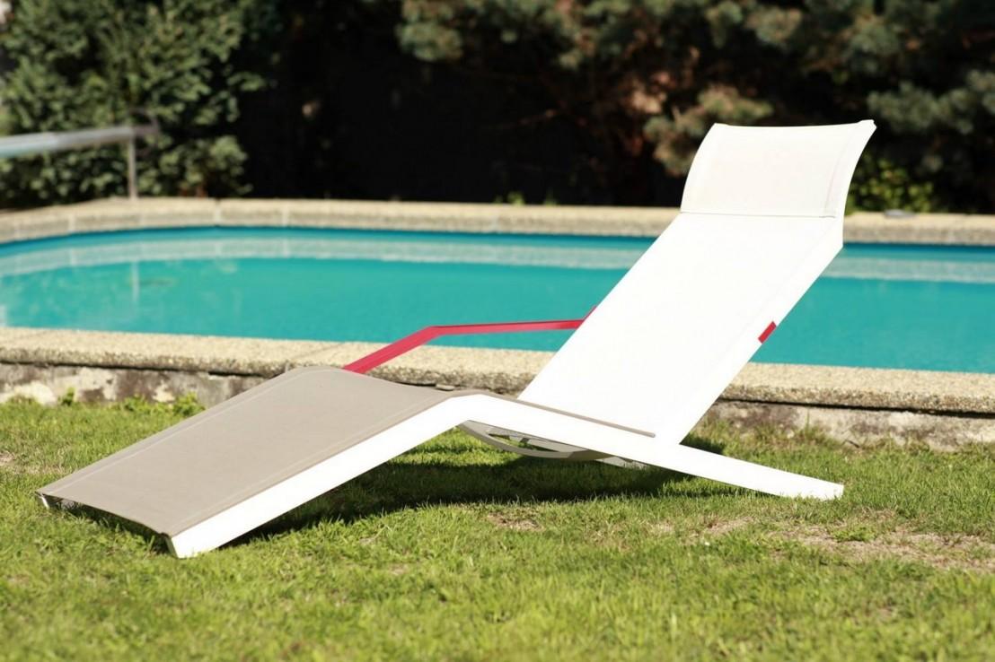 ALVA Chaise Longue Design Contemporain Extrieur Pour Terrasse En Aluminium De Couleur Et Tissu
