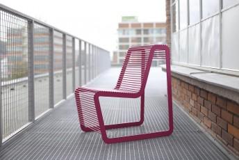 Fauteuil extérieur de terrasse LIMPIDO en métal acier de couleur