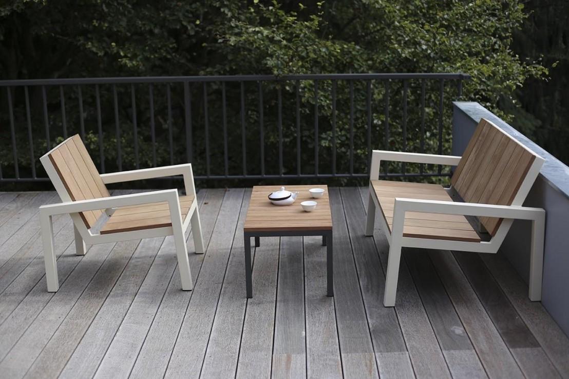 Table Bois Metal Exterieur petit fauteuil extérieur de jardin laurede en métal acier de