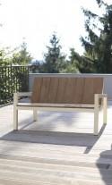 Banquette 2 places pour extérieur LAUREDE en métal acier de couleur et en bois massif