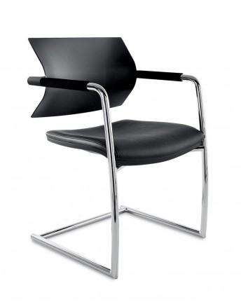 AIRE.JR, lot de 2 chaises d'accueil et de collectivité cuir artificiel ou tissu avec accoudoirs
