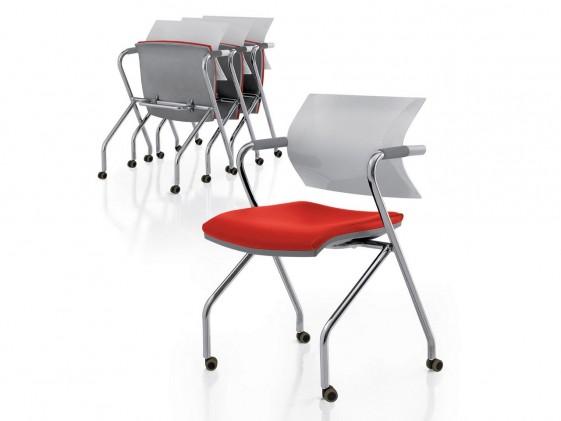 Chaises rabattables de réunion avec accoudoirs AIRE JR par 2 sur roulettes cuir artificiel ou tissu