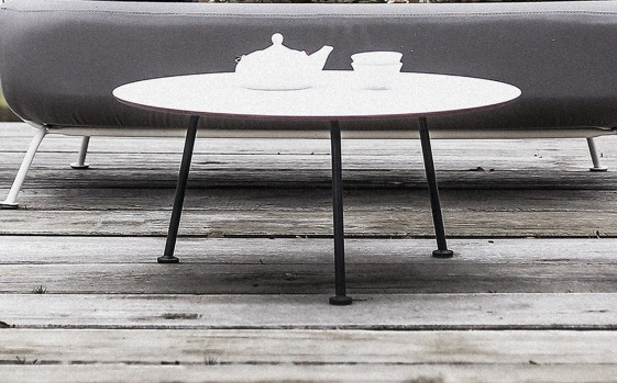 Table basse ronde 70 cm MAJ extérieur de jardin en métal acier de couleur  et plateau en HPL - SEANROYALE