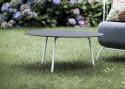 Table basse ronde 70 cm MAJ extérieur de jardin en métal acier de couleur et plateau en HPL