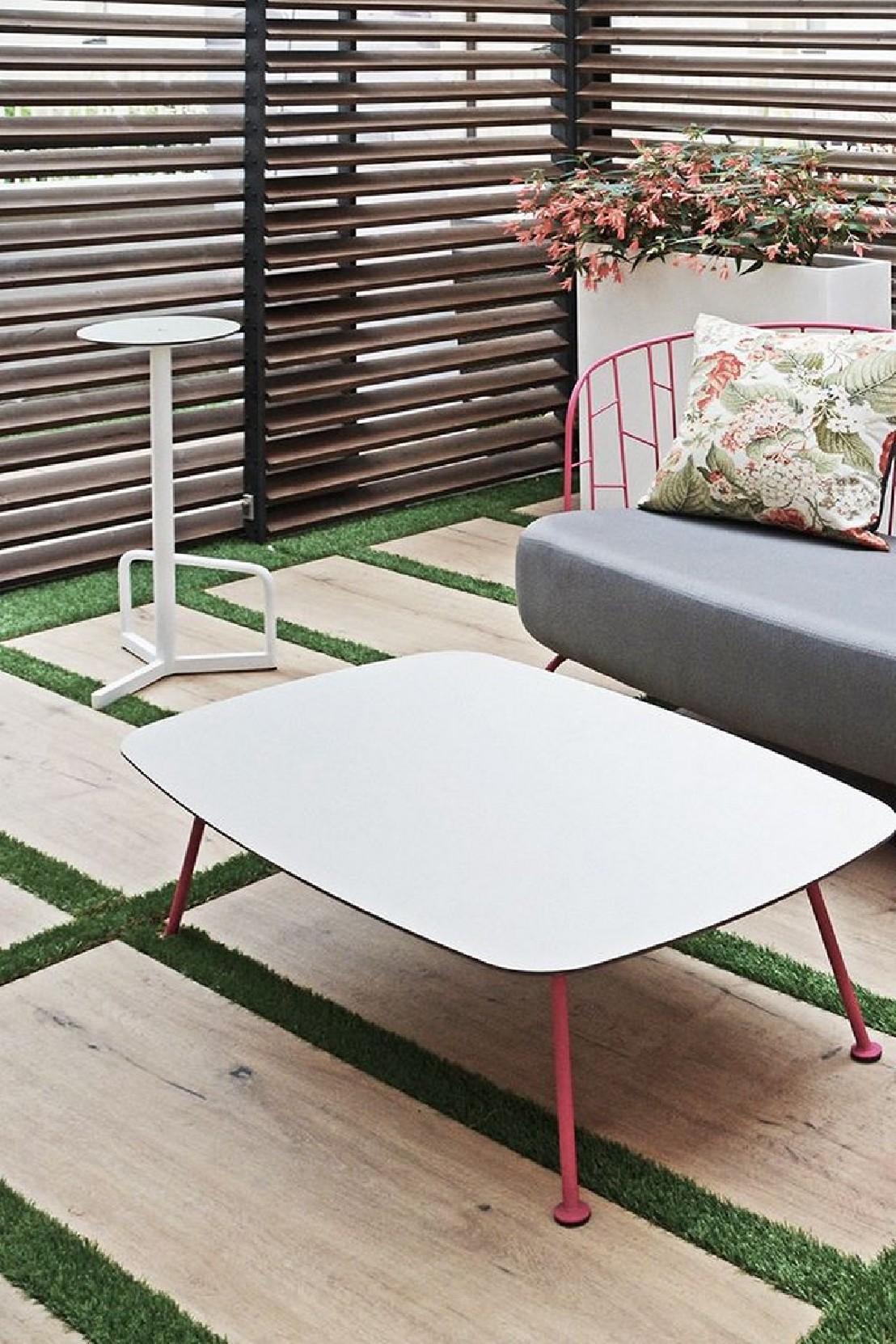 Table basse rectangulaire 100 cm MAJ extérieur de jardin en métal ...
