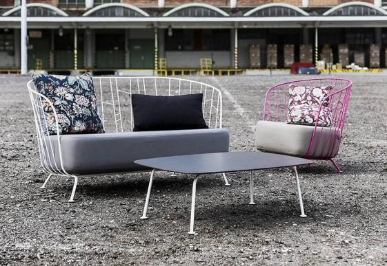 Table basse rectangulaire 100 cm MAJ extérieur de jardin en métal acier de couleur et plateau en HPL