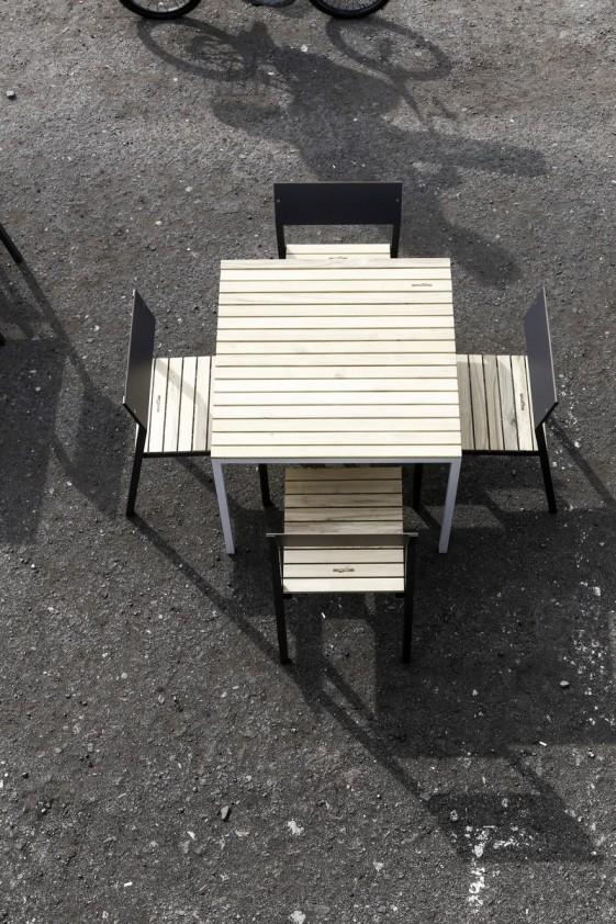 Table CORA carrée 86 cm pour salon de jardin en métal aluminium de ...