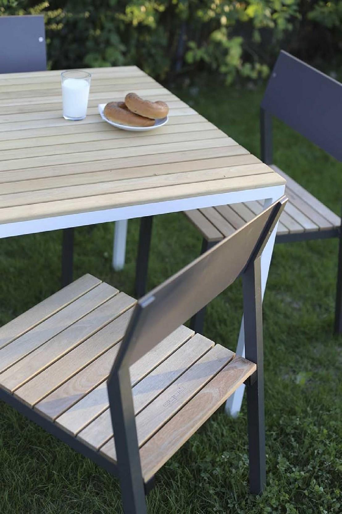 Table CORA carrée 86 cm pour salon de jardin en métal ...