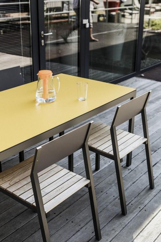 Table CORA rectangle 175 cm pour salon de jardin en métal aluminium de  couleur et plateau en HPL - SEANROYALE