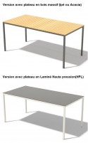 Table CORA rectangle 175 cm pour salon de jardin en métal aluminium de couleur et plateau en HPL