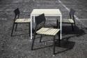 Salon de jardin CORA, table carrée et 4 chaises, métal aluminium de couleur et bois massif