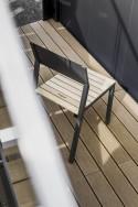 Salon de jardin CORA, table rectangle 175 cm et 4 chaises, métal aluminium de couleur, plateau de couleur et bois massif