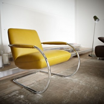 Fauteuil MiniGLAM design en demi-cercle accoudoirs gainés cuir ou tissu