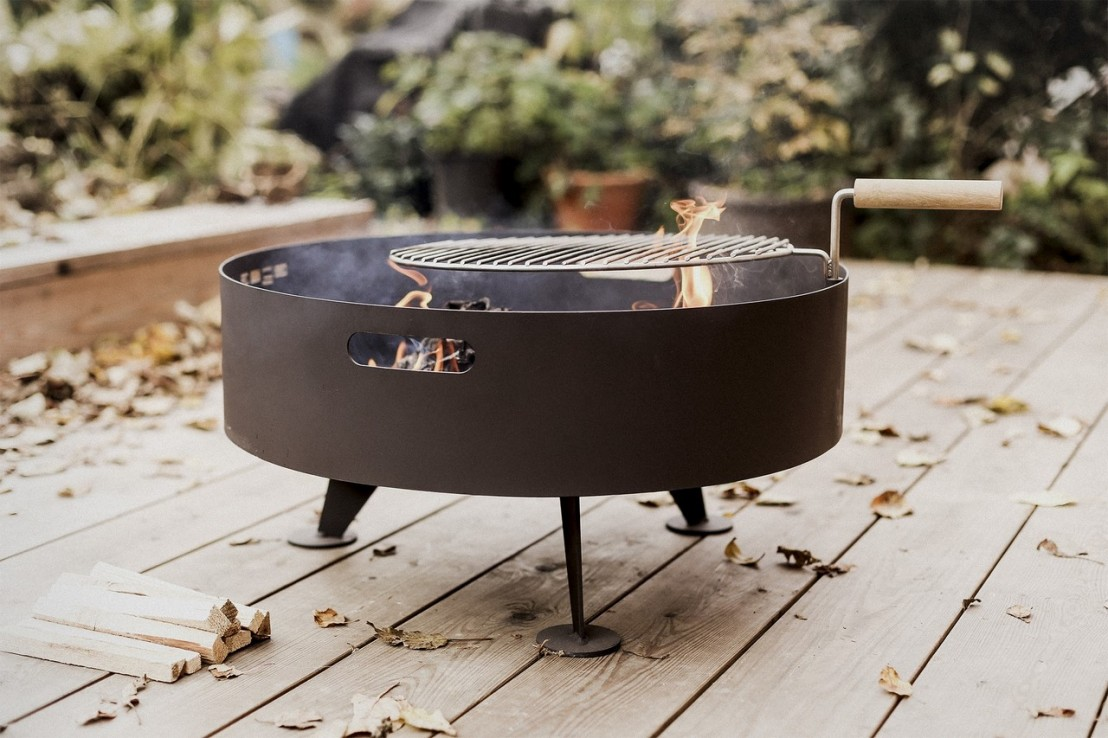 brasero grill rond back to fire pour terrasse, en acier inoxydable