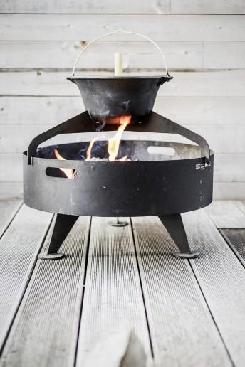 Petit brasero grill rond 60 cm BACK TO FIRE avec chaudron pour terrasse, en acier inoxydable