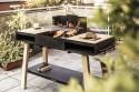 Barbecue grill / cuisine extérieure sur pieds BACK TO FIRE, en bois massif et acier inoxydable