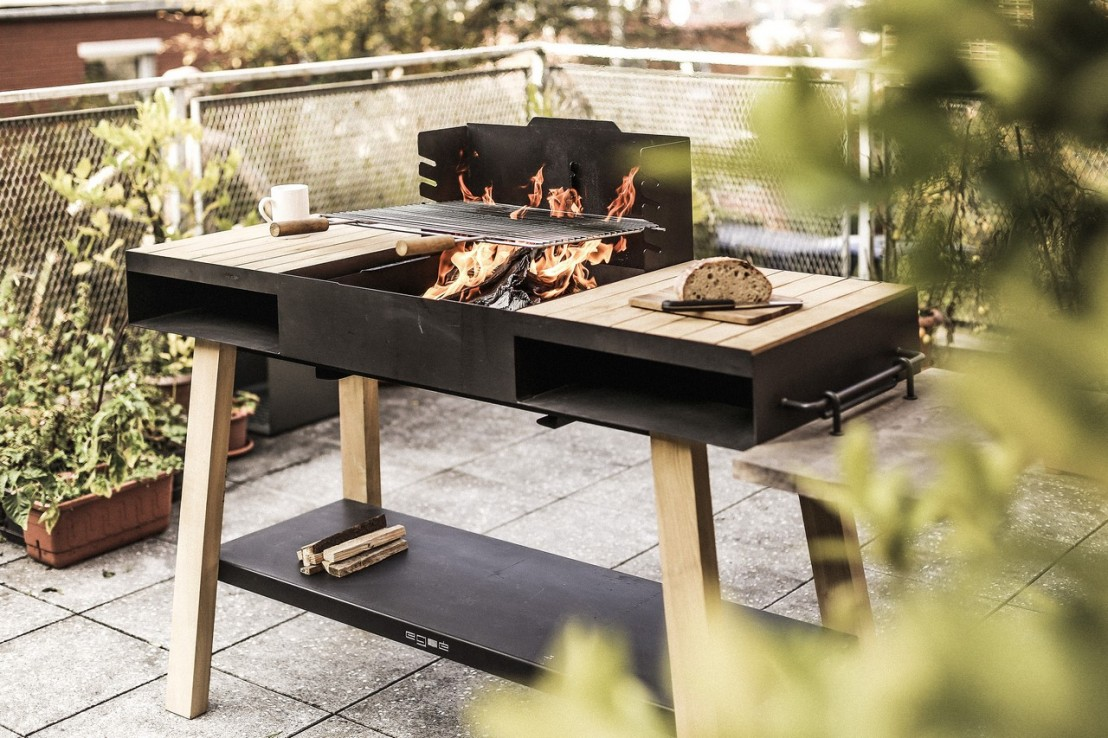 barbecue grill cuisine ext rieure sur pieds back to fire en bois massif et acier inoxydable. Black Bedroom Furniture Sets. Home Design Ideas