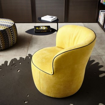 Fauteuil rond design LIDO en cuir ou tissu