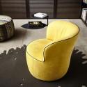 Fauteuil fixe ou pivotant, rond design LIDO en cuir ou tissu