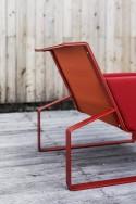 Fauteuil MOJA, extérieur de jardin en métal acier de couleur et tissu outdoor