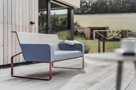 Canapé 2 places MOJA, extérieur de jardin en métal acier de couleur et tissu outdoor