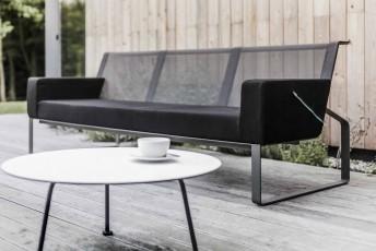 Canapé de jardin 3 places MOJA, extérieur, en métal acier de couleur et tissu outdoor