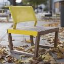 Fauteuil extérieur de jardin BARKA design en bois massif, acier et tissu outdoor