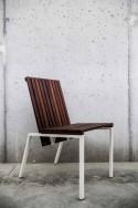Chaise extérieure de terrasse AXIS en métal acier de couleur et bois massif