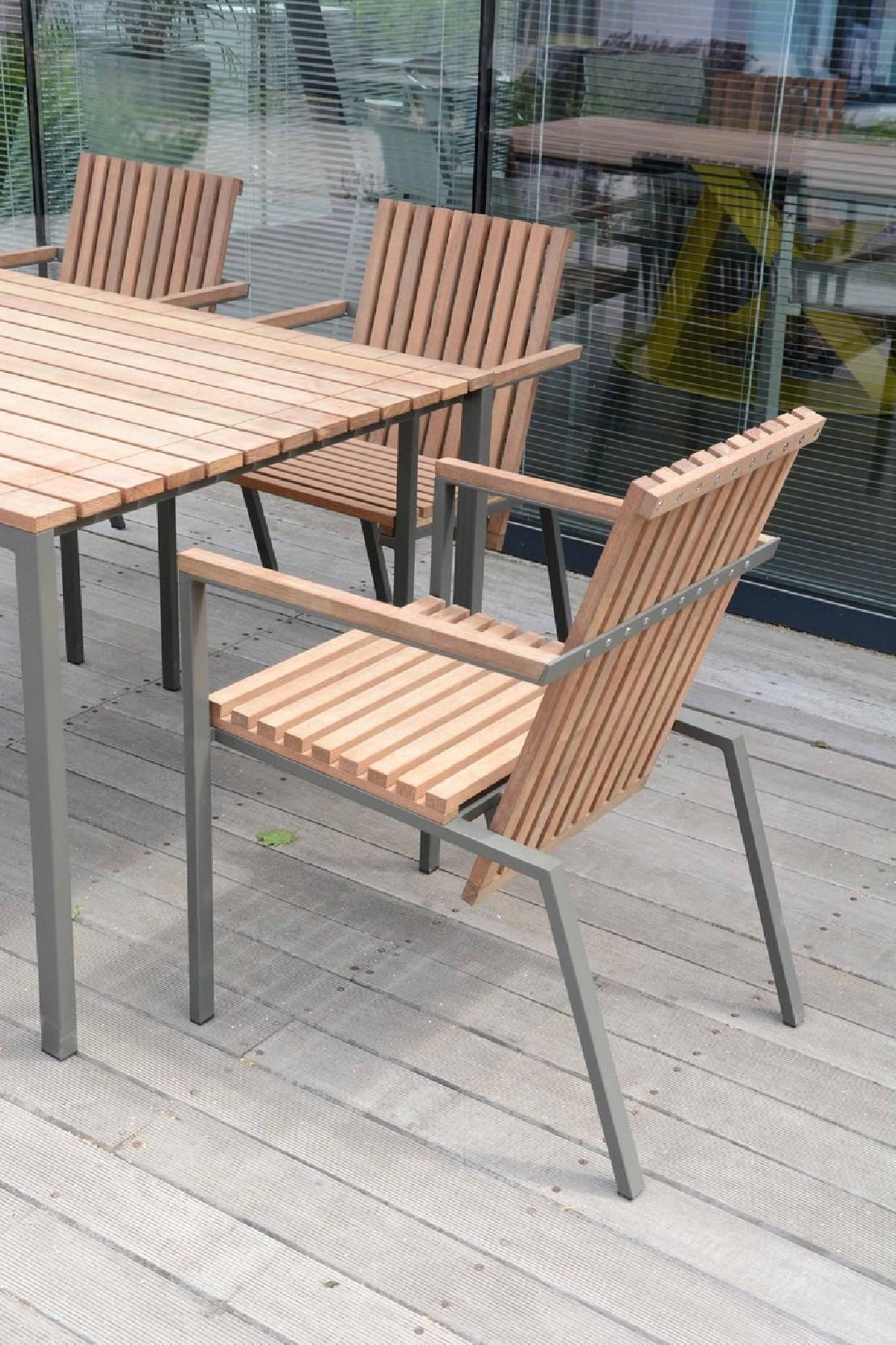 Table Bois Metal Exterieur petit fauteuil extérieur de terrasse axis en métal acier de