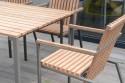 Salon de jardin, table BISTROT rectangle 95x166 cm et 4 fauteuils AXIS en métal acier de couleur et bois massif