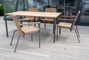 Salon de jardin, table BISTROT rectangle 95x166 cm et 4 fauteuils ...