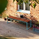 Banc extérieur de jardin BISTROT en bois massif et acier de couleur
