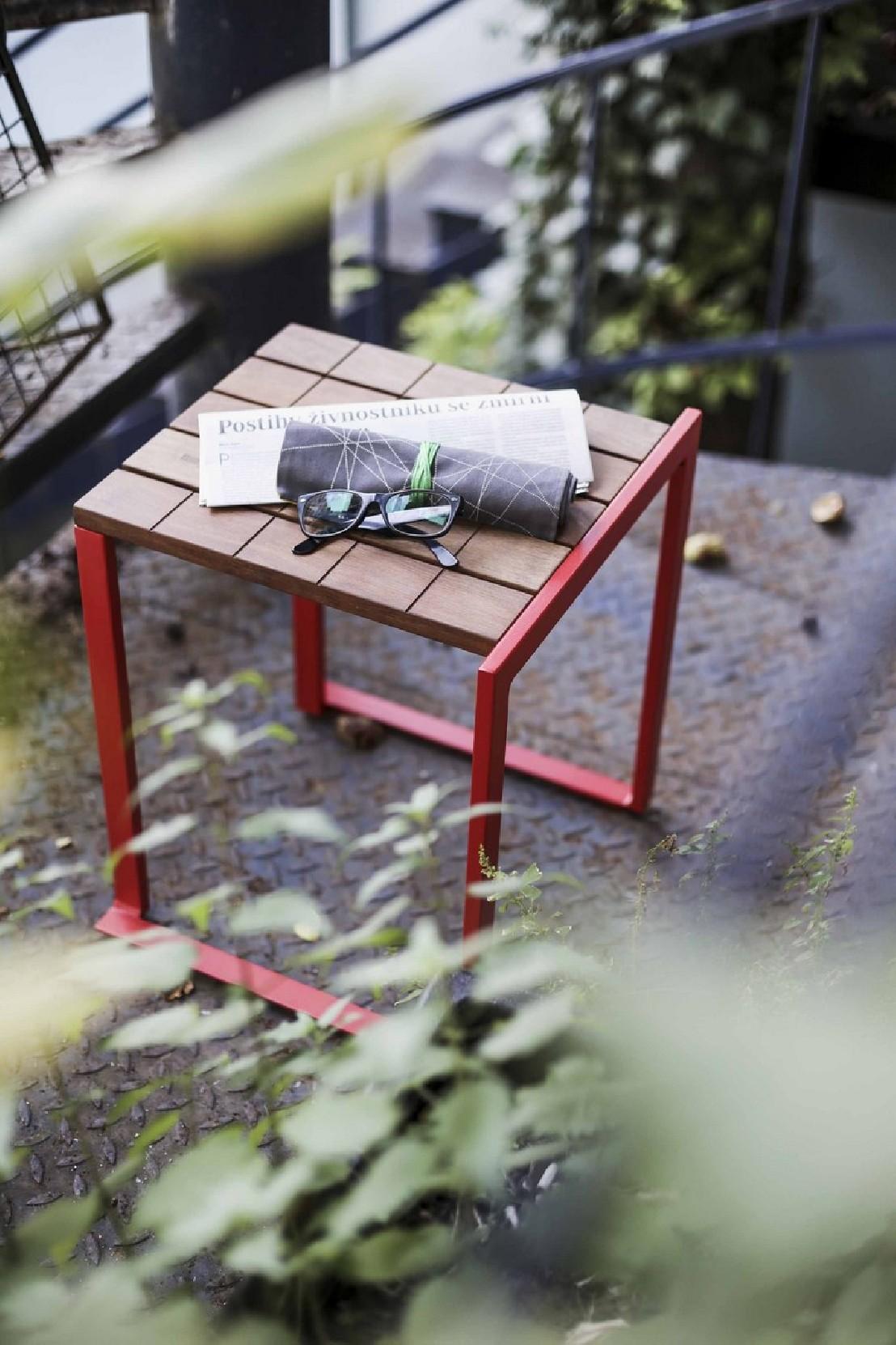 Table Bois Metal Exterieur tabouret extérieur de jardin bistrot en bois massif et acier