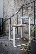 Petit tabouret avec dossier extérieur de jardin BISTROT en bois massif et acier de couleur