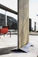 Paravent extérieur de terrasse MARIO 99x155 cm en bois massif d'Acacia et acier de couleur