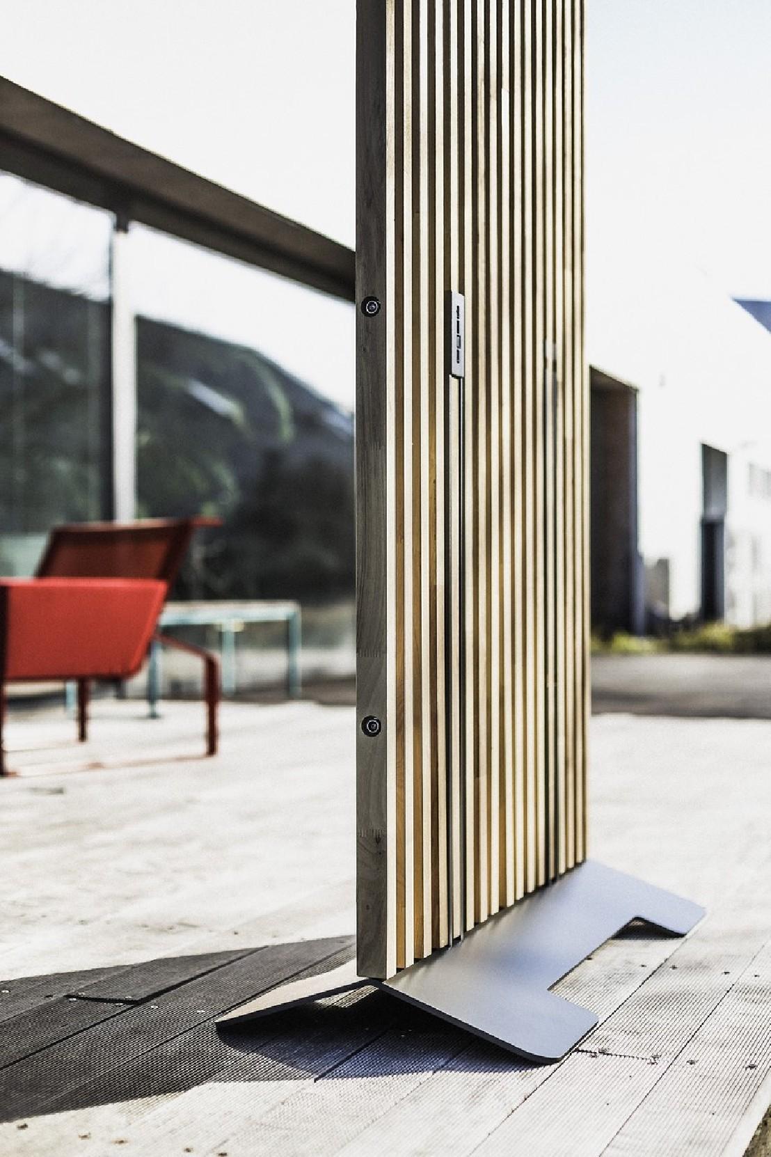 paravent ext rieur de terrasse mario 99x155 cm en bois massif d acacia et acier de couleur. Black Bedroom Furniture Sets. Home Design Ideas