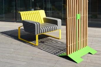 Petit Paravent extérieur de terrasse MARIO 69x155 cm en bois massif d'Acacia et acier de couleur