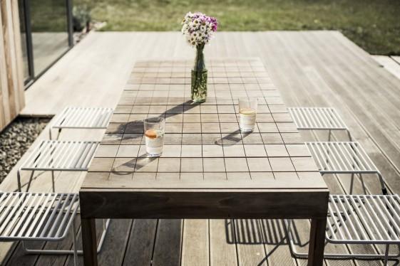 Grande table de jardin rectangulaire SENA 220 cm en bois massif d'Ipé -  SEANROYALE