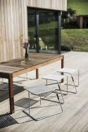 Ensemble de jardin grande table rectangulaire SENA 220 cm en bois massif et 6 tabourets TINA en acier de couleur