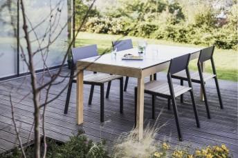 Table de jardin rectangulaire SENA 178 cm en bois massif et plateau HPL de couleur