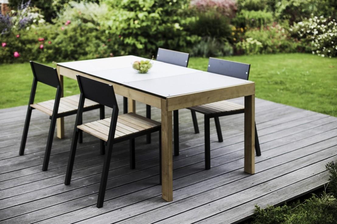 Table de jardin rectangulaire SENA 178 cm en bois massif et plateau ...
