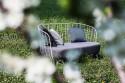 Banquette MAJ 2 places, extérieur de jardin en métal acier de couleur et tissu outdoor