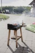 Barbecue grill sur pieds BACK TO FIRE extérieur au charbon, en bois massif et acier inoxydable