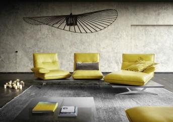 Canapé 3 places d'angle ultra design HYPEnMIAMI avec chaise longue, assises indépendantes-pivotantes et relax
