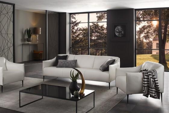 Salon complet contemporain DIXIE.MISS en cuir ou tissu