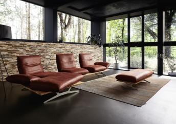 Canapé d'angle contemporain design 3 places HYPEnKEYS avec chaise longue, assises indépendantes-pivotantes