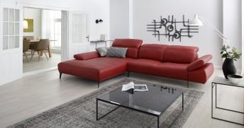Canapé d'angle design 3.5 places MAN.FLEX avec chaise longue XL, profondeur d'assise modifiable électrique