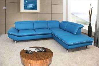 Canapé d'angle BLUE.MONDAY cuir ou tissu 5 places design finition passepoil
