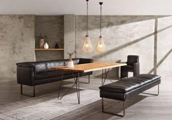 Banquette élégante EAT.LOUNGE cuir ou tissu, pieds métal ou bois