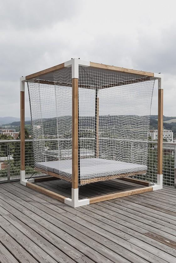 Lit de jardin hamac suspendu en cage LEVA : mobilier de jardin EGOE